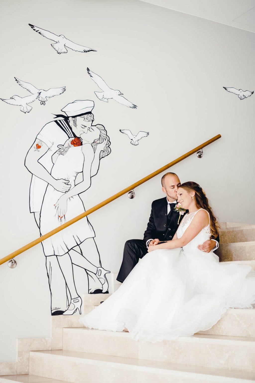 Hochzeitsportrait mit Matrosenbild